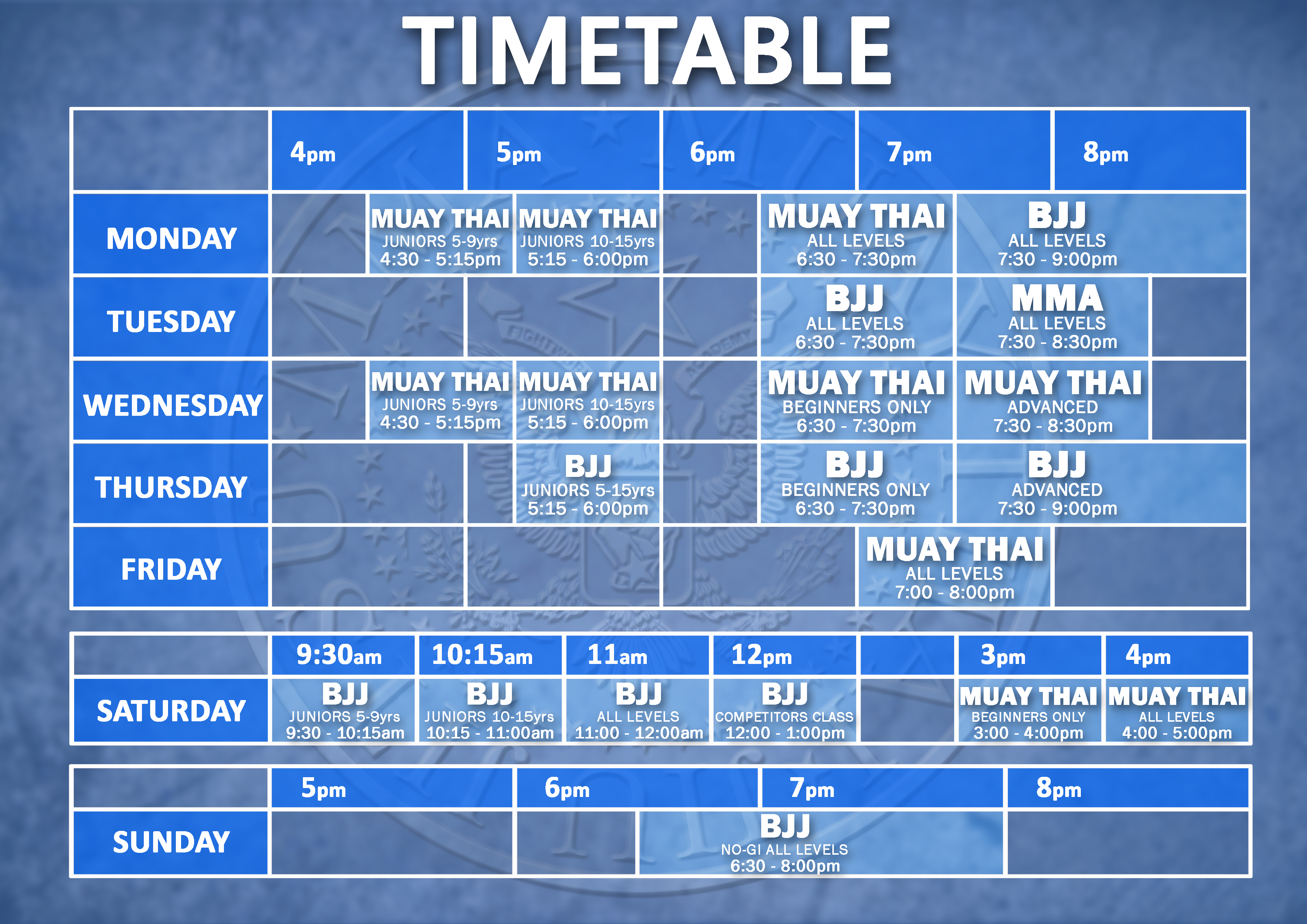 2019 Timetable