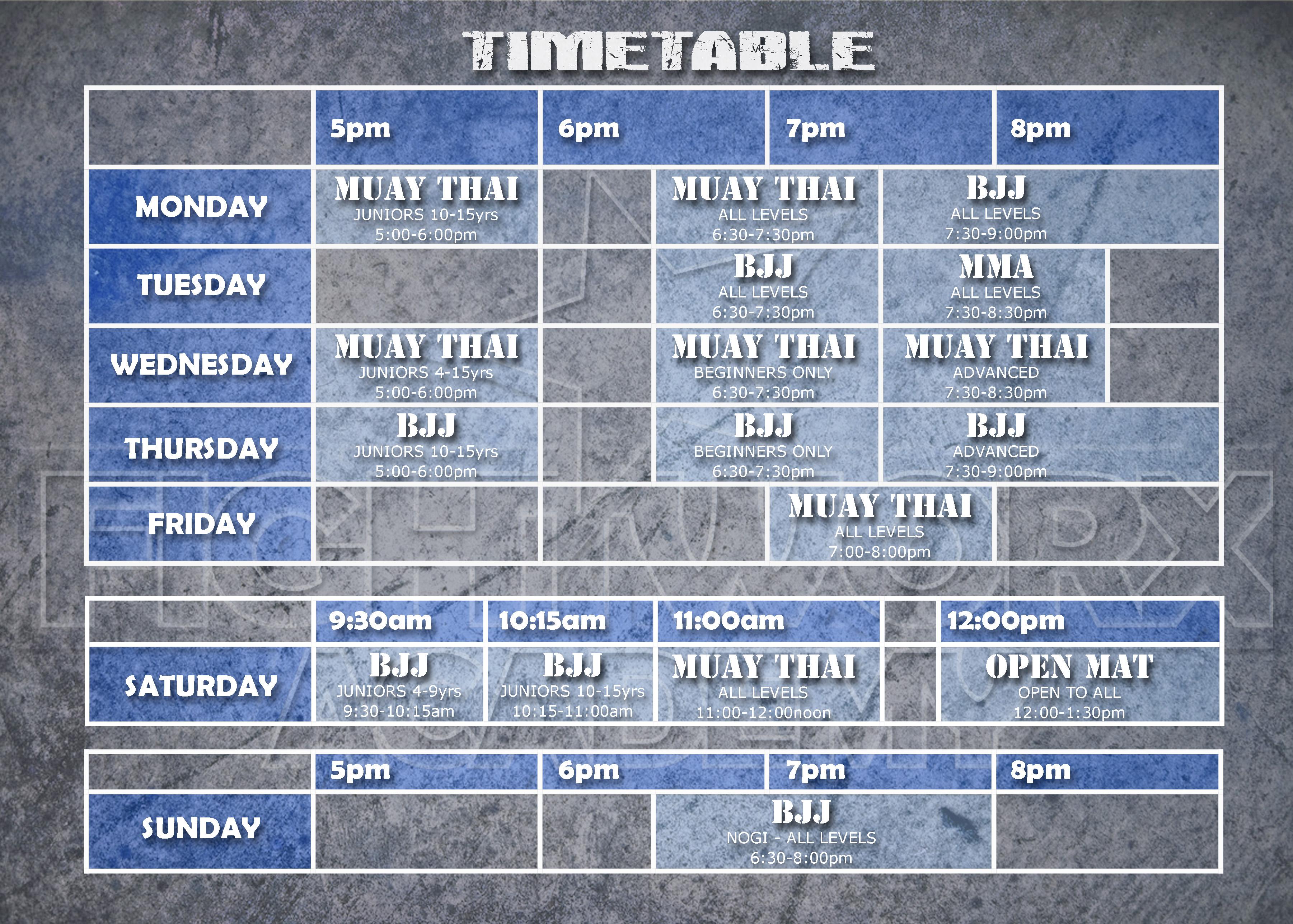 NEW Timetable FULL PRINTER
